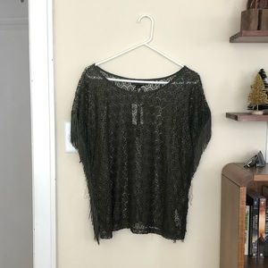 NWT Army green shawl-like top with side slits